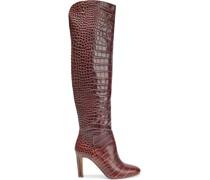 Linda Kniehohe Stiefel aus Leder mit Krokodileffekt