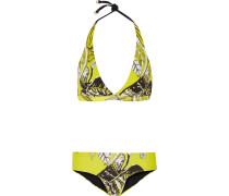Convertible Printed Triangle Bikini Gelb