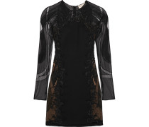 Embellished Tulle And Wool And Silk-blend Twill Mini Dress Schwarz