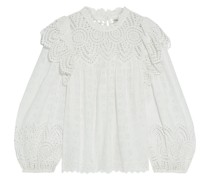Holland Ruffled Broderie Anglaise Cotton-blend Blouse