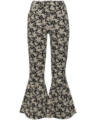 Embellished Cotton-blend Floral-jacquard Kick-flare Pants Black