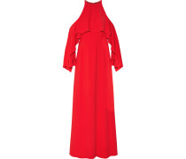 Cold-shoulder Draped Crepe Gown Rot