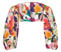 Off-the-shoulders Cropped Floral-print Cady Top
