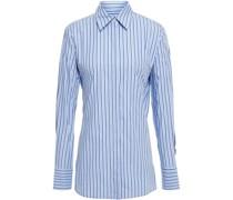 Gestreiftes Hemd aus Baumwollpopeline mit Cut-outs