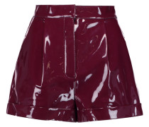 Pleated Faux Patent-leather Shorts Plaume