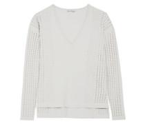 Pointelle-knit-paneled jersey top