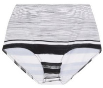 High-rise striped bikini briefs