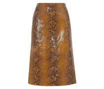 Snake-effect Leather Skirt