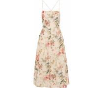 Floral-print Linen And Cotton-blend Midi Dress Cream