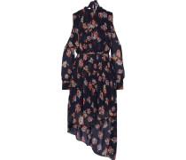 Audrina Cutout Floral-print Georgette Dress Mitternachtsblau