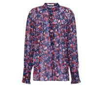 Geraffte Bluse aus Crêpe mit Floralem Print