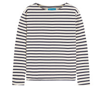 Striped Cotton-jersey Top Weiß