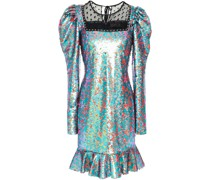 Ruffled Swiss-dot And Sequined Tulle Mini Dress