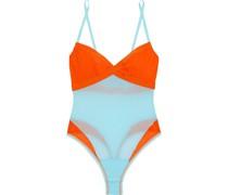 Mixed Meshages String-body aus Stretch-mesh in Colour-block-optik