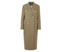Cindy Double-breasted Checked Merino Wool Coat
