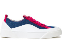 Choo Color-block Leather And Canvas Sneakers