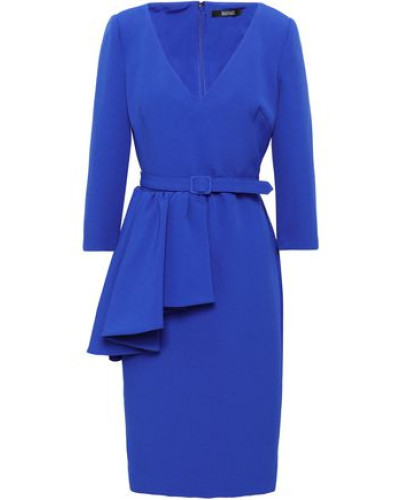 Belted Ruffled Stretch-crepe Dress Royal Blue