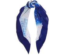 Reflected Diamond Printed Silk-chiffon Scarf Blau