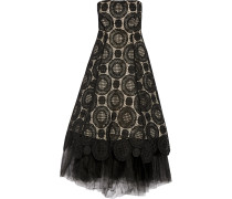 Tulle-trimmed Crocheted Lace Midi Dress Schwarz