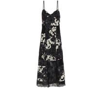 Lace-paneled Floral-print Silk-georgette Midi Dress