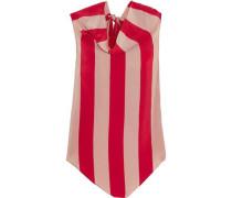 Striped silk crepe de chine top