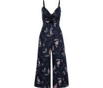 Woman Cropped Cutout Embellished Linen Jumpsuit Navy