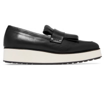 Manor Fringed Leather Platform Loafers Schwarz