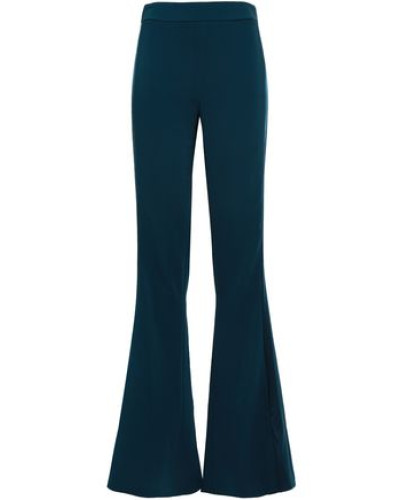 Silk Satin-trimmed Stretch-crepe Flared Pants Petrol