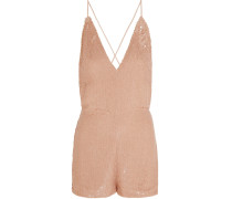 Sequined Silk Playsuit Puder