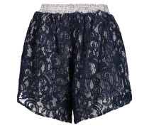 Guipure Lace And Gingham Cotton Shorts Mitternachtsblau