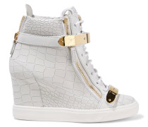 Croc-effect Leather Wedge Sneakers Hellgrau