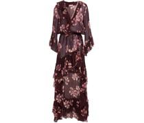 Minikleid aus Georgette aus Einer Baumwoll-seidenmischung mit Floralem Print und Rüschen