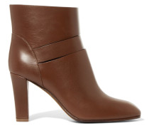Cutout Leather Ankle Boots Braun