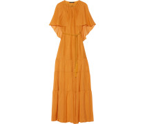 Melina Cape-effect Silk-chiffon Maxi Dress Safrangelb