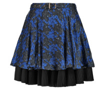 Layered Silk-chiffon Mini Skirt Blau
