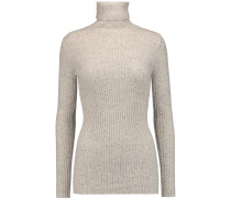Ribbed Cashmere Turtleneck Sweater Hellgrau