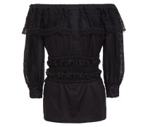 Vero Off-the-shoulder Crocheted Lace-trimmed Cotton-blend Voile Top