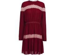 Point D'esprit-paneled Gathered Crepe Mini Dress