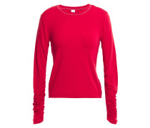 Woman Ruched Stretch-jersey Top Red