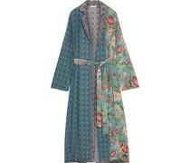 Selene Bedruckter Kimono aus Crêpe De Chine aus Seide in Patchwork-optik mit Zierperlen