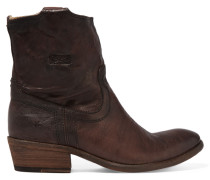 Carson Textured-leather Ankle Boots Dunkelbraun