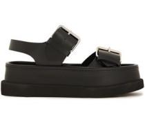 Woman Pamir Buckled Faux Leather Platform Sandals Black