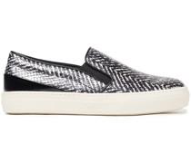 Metallic Snake-effect Leather Slip-on Sneakers