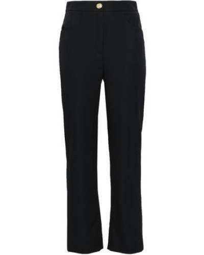 Wool Straight-leg Pants Black
