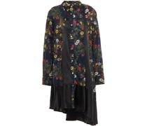 Asymmetrisches Kleid mit Einsätzen aus Baumwolle und Satin und Floralem Print