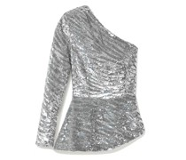 Norma One-sleeve Sequined Satin Blouse