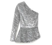 Norma Bluse aus Satin mit Pailletten und Asymmetrischer Schulterpartie