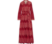 Belted lace and voile maxi dress