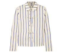 Bow-detailed Striped Cotton-blend Jacquard Shirt