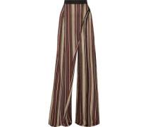 Metallic stretch-knit wide-leg pants